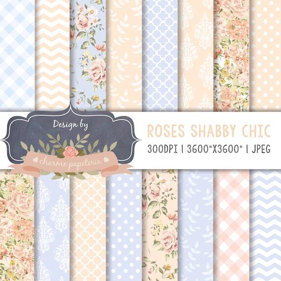 Floral Shabby Chic Digital Paper Cottage Paper Floral Blush Etsy