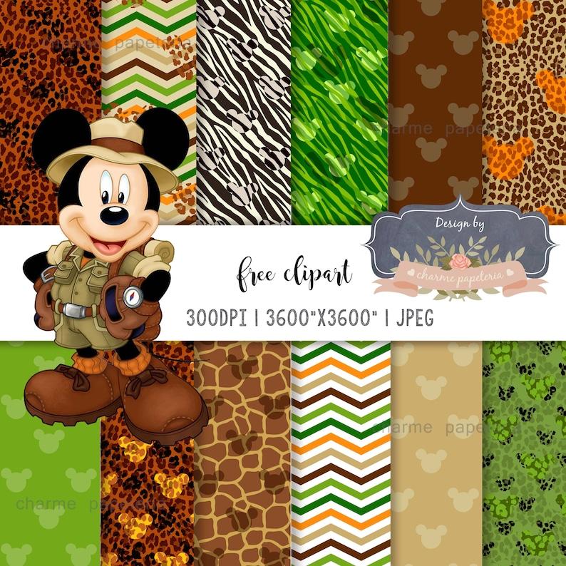 Safari Mickey Mouse Digital Paper Clipart Clip Art animal ...