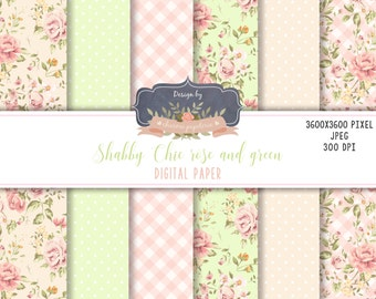 SALE Floral Shabby Chic digital paper pack, cottage paper, floral green and pink, floral green, floral pattern, scrapbooking paper flowers