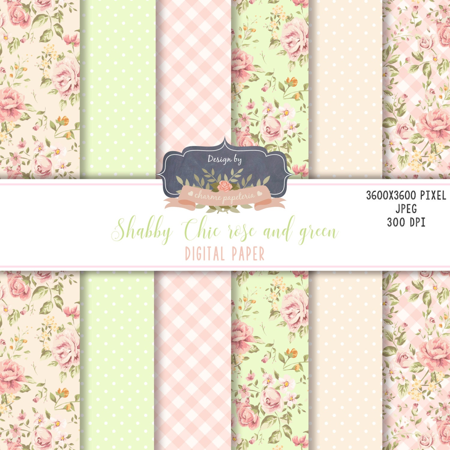 Sale Floral Shabby Chic Digital Paper Pack Cottage Paper Floral Green And Pink Floral Green Floral Pattern Scrapbooking Paper Flowers