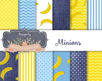 SALE Minions Digital Paper, Chevrons, Stripes, Polka Dots, jeans paper, bananas paper,Minion Scrapbooking Paper, jeans pattern