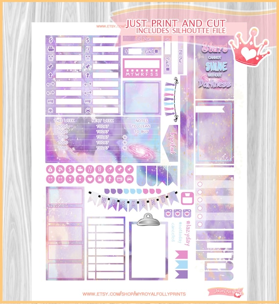 March Planner Printable Sticker Sheet DIY Print at Home