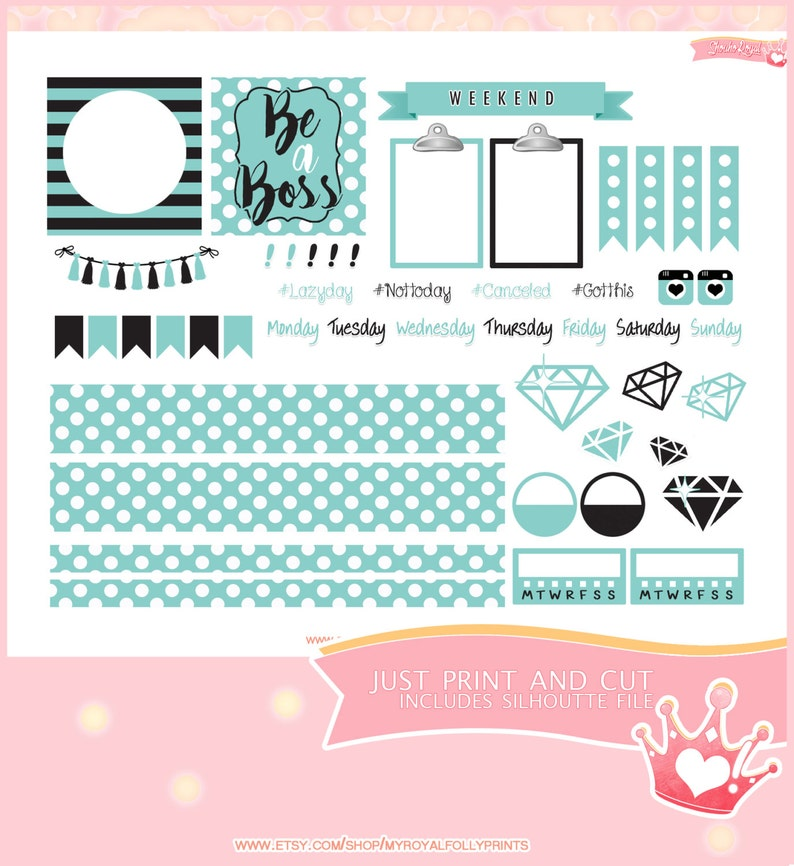 Blue Boss | Printable Planner Stickers | Horizontal Happy Planner | Instant  Digital Download with Silhouette file