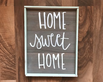 SALE Home Sweet Home Small wood framed sign