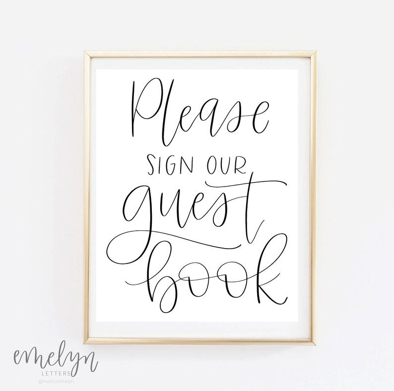 photograph relating to Please Sign Our Guestbook Free Printable named Be sure to Indicator Our Visitor E-book - Wedding ceremony Print - Guestbook Indicator - Calligraphy Print