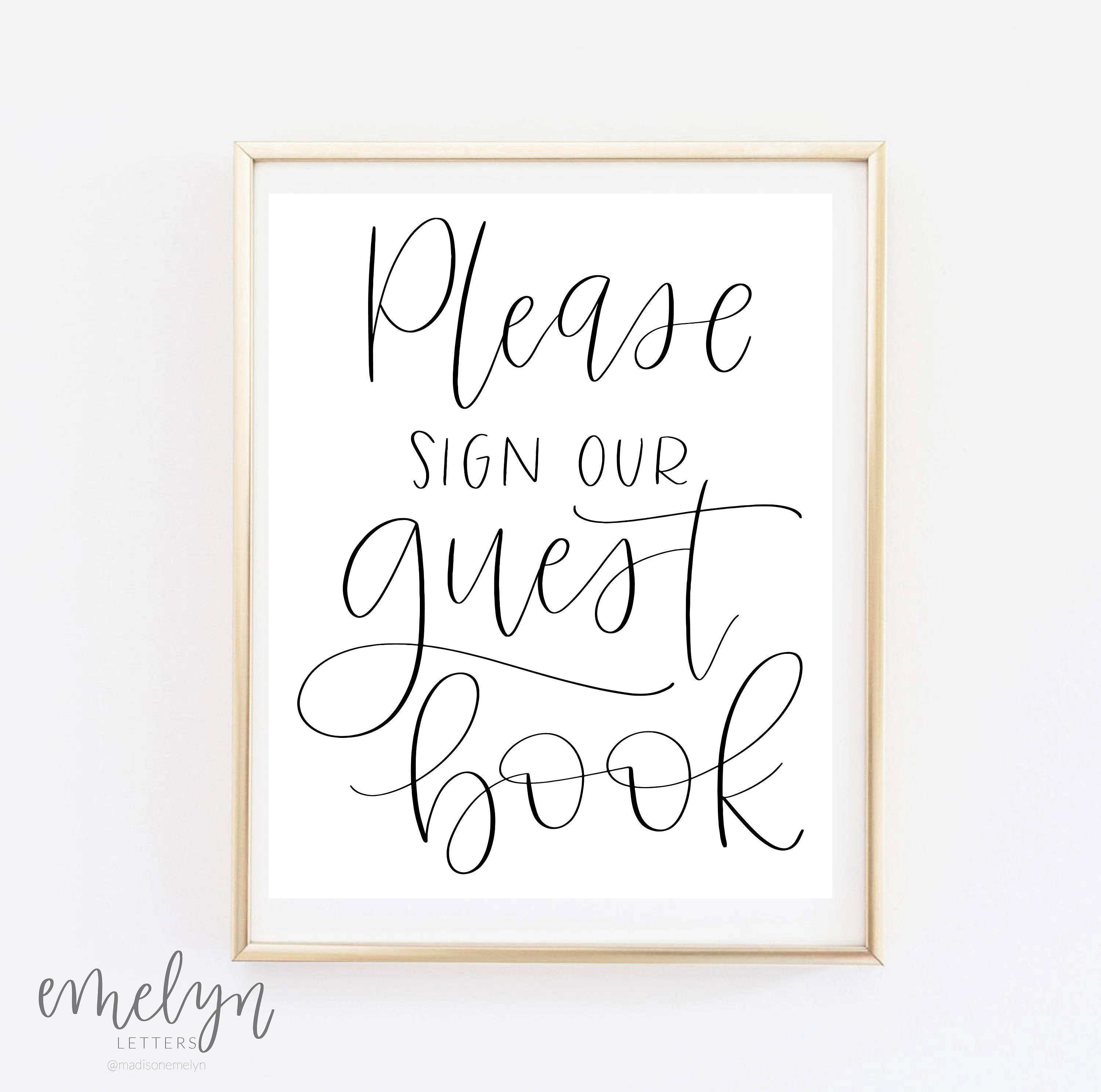 Guest Book Printing: Please Sign Our Guest Book Wedding Print Guestbook Sign