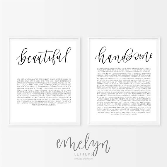 Custom Calligraphy Wedding Vows Beautiful And Handsome Printable Wedding Vows First Anniversary Paper Anniversary Gift