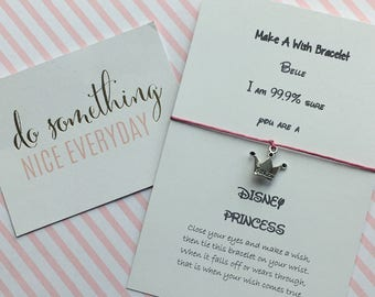 I am 99.9/% Sure you are a Disney Princess can be personalised with any name! Wish Bracelet  Charm Bracelet