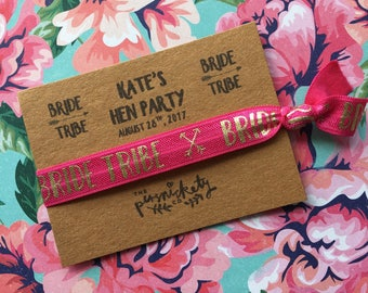 Hen Party Wristband - Bride Tribe / Team Bride - Can Be Personalised With Any Name & Hen Party Details + FREE Wristband For The Bride