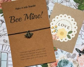 Make A Wish Bracelet / Charm Bracelet - Bee Mine! Perfect for Valentines Day