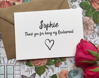 Wedding Card,  Thank You For Being My Bridesmaid, Bridesmaid Thank You, Bridesmaid, Wedding Thank You, Thank You Card, Personalised Card