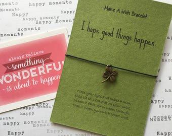Make a Wish Bracelet / Charm Bracelet - I Hope Good Things Happen