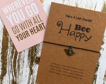 Make A Wish Bracelet / Charm Bracelet -Bee Happy! Bee, Bee Charm, Bee Jewelry, Wish Bracelet, Bee Bracelet, Charm Bracelet, Bee Happy