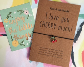 Make A Wish Bracelet, Charm Bracelet, Wish Bracelet, I Love You Cherry Much! Can Be Personalized With Any Name, Cherry Bracelet,