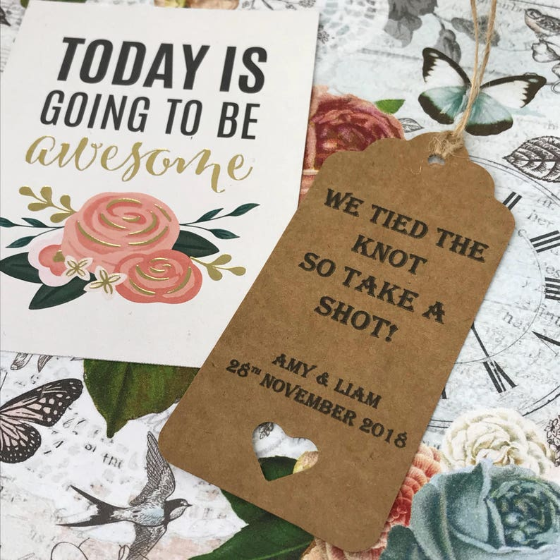 Wedding Pack Of 12 Wedding We Tied The Knot So Take A Shot Personalised Tag Table Favour Shot Tag Wedding Tag Wedding Favor Gift