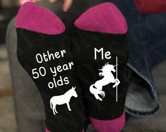 Fabulous 50 on Light Pink Socks Great 50th Birthday Gift
