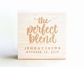 The Perfect Blend Stamp, Personalized Stamp Coffee Wedding Favor Tags for Espresso Beans, Wedding Favor Tea Bags, Wedding Favor Stamp