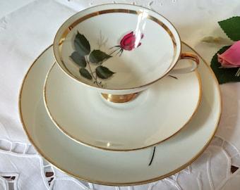 Vintage Winterling Bavaria Trio Cup Saucer Plate Red Rose Bud Markleuthen