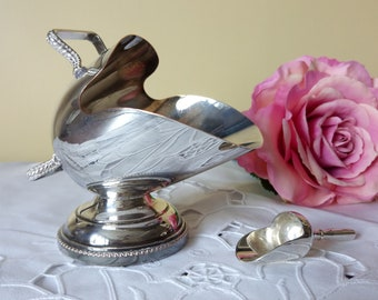Vintage Nickel Silver Sugar Trough/Salt Cellar with spoon