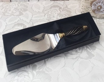 Vintage Unused Stainless  Twisted Handle Cake Server with Original Box