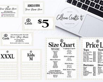 Agnes and Dora Startup Branding Kit, Custom Business Cards, Personalized Gift Certificates, Size Labels, Editable Price List, Simple Mandala