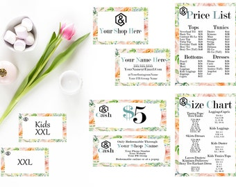 Agnes and Dora Startup Branding Kit, Watercolor Flowers, Custom Business Cards, Custom Gift Certificates, Editable Price List, Sizing