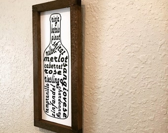Wine Bottle Sign - Handmade Wood Sign - Wine Varietals - Hand Painted Wood - Hand Built Frame
