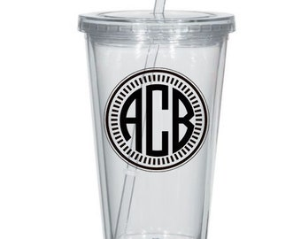 Custom Monogram Personalized Tumbler - Three Letter Monograms, Monogrammed Tumbler, Circle Monogram, Personalized Cup, Savvy Southern Style