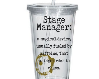 Stage Manager Definition Custom Tumblers - Funny Stage Manager Gifts, Personalized Tumblers, Theater Gifts