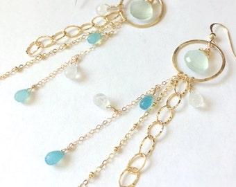 Blue Chalcedony/Moon stone Hoop & Chain Earrings