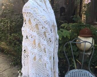 White wool shawl