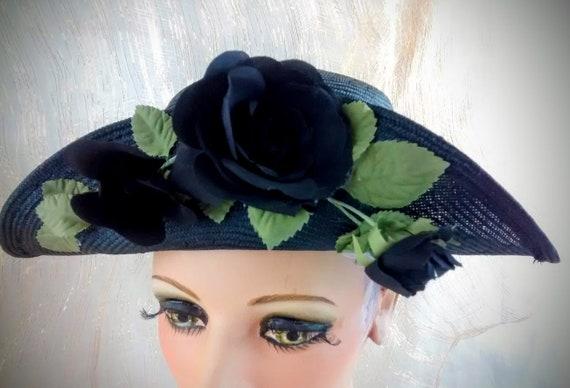 Vintage Liz Claiborne Black Straw Hat /  Summer S… - image 5