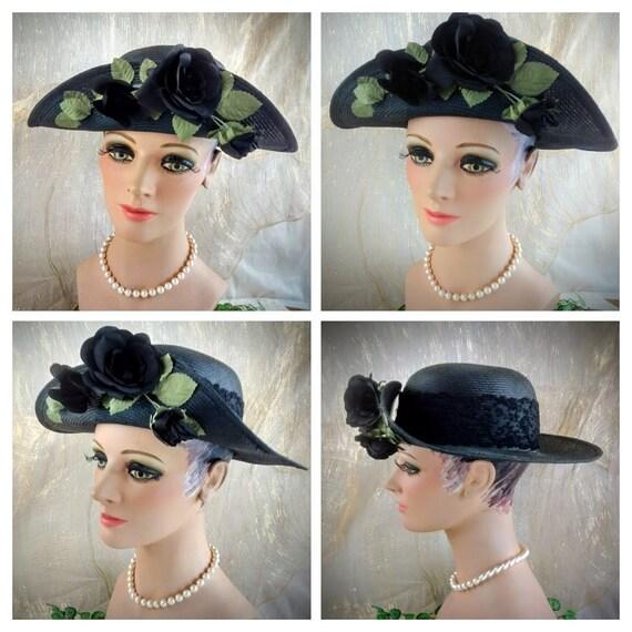 Vintage Liz Claiborne Black Straw Hat /  Summer S… - image 9