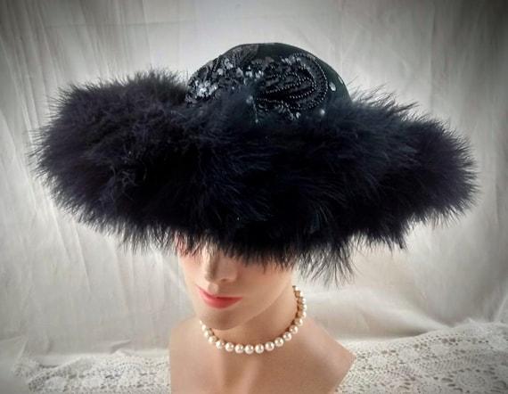 DEBORAH Black Hat Maribou Trim / Old Hollywood Gla