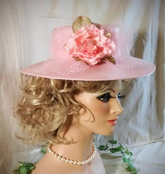 d199f2da Pink Straw Hat / Vintage Ladies Hat / Wide Brim Hat / Pink | Etsy