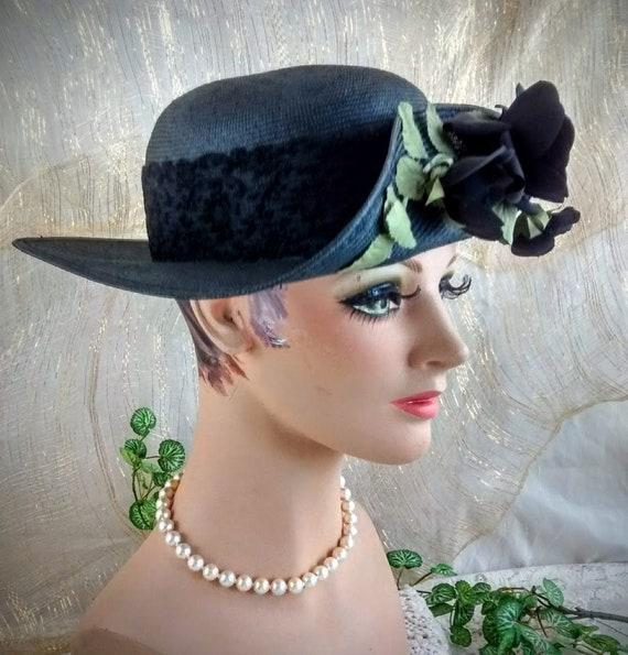 Vintage Liz Claiborne Black Straw Hat /  Summer S… - image 1