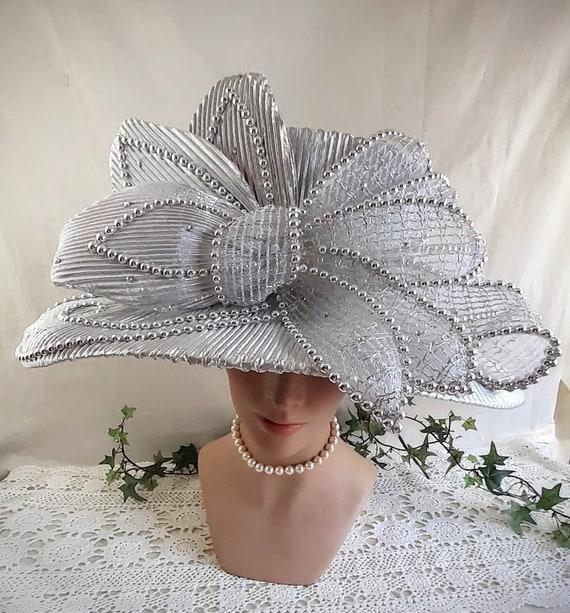 Silver Lamé Ladies Vintage Hat Huge Bow