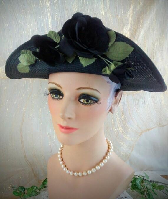 Vintage Liz Claiborne Black Straw Hat /  Summer S… - image 4