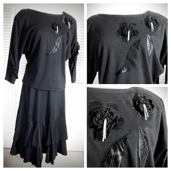 Black Jersey Dress / Embellished Black Dress / 2 P