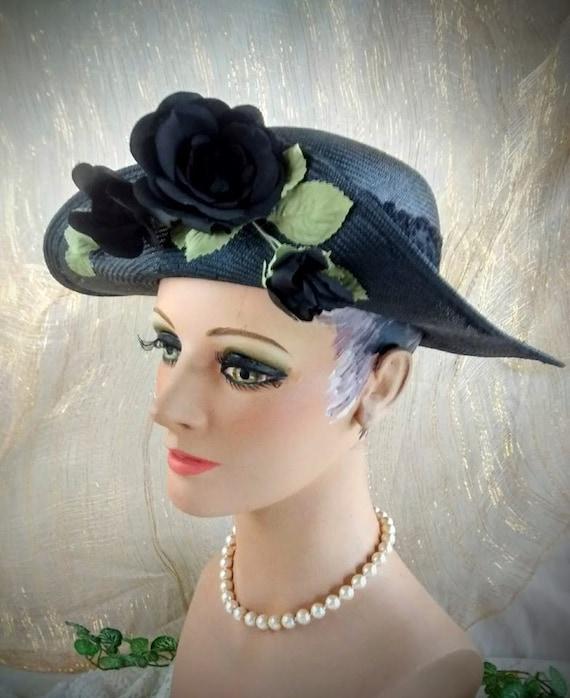 Vintage Liz Claiborne Black Straw Hat /  Summer S… - image 3