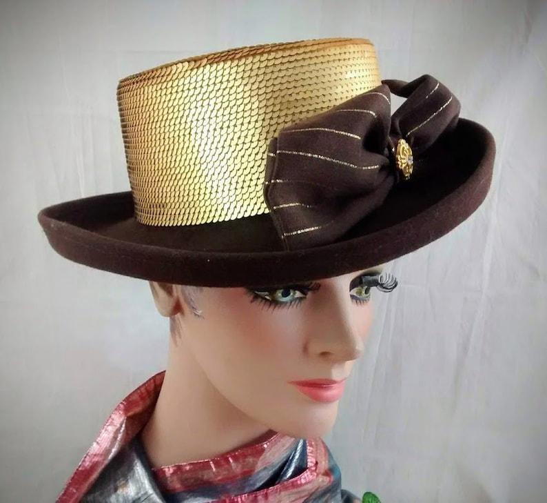 74a4dc204 Whittall & Shon Hat / Brown Wool Felt Hat with Gold Sequin Crown / Designer  Hat / Church Hat / Wide Brim Hat