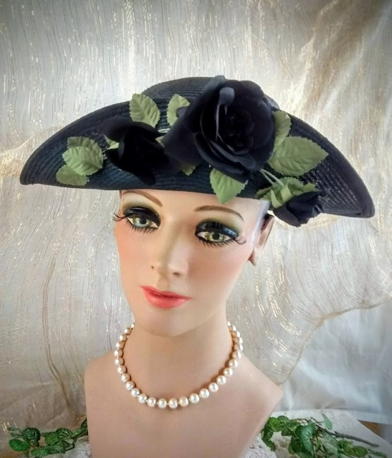Vintage Liz Claiborne Black Straw Hat /  Summer S… - image 6