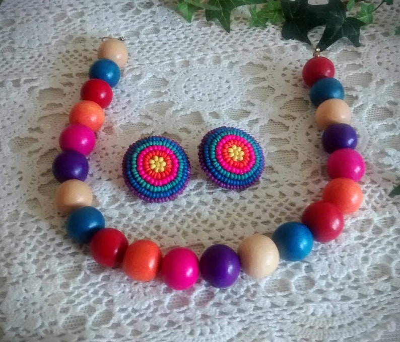 Large Wood Bead Vintage Choker Necklace and Earrings NewOld Costume Jewelry from 1980\u2019s