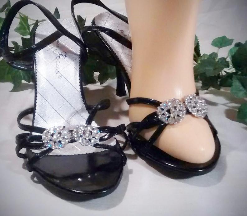 Vintage Black High Heel Barefoot Sandals with 2 Rhinestone Clips Size 7 \u2013 Never Worn
