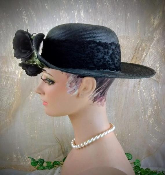 Vintage Liz Claiborne Black Straw Hat /  Summer S… - image 7