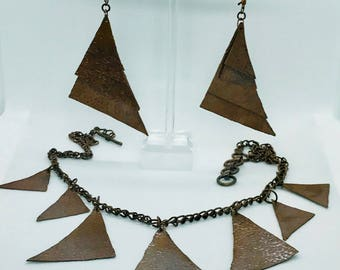 Handmade copper chain necklace & earring set.