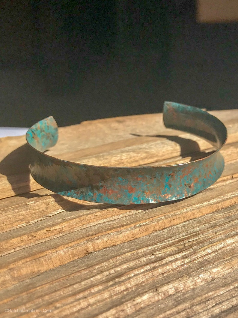 Patinaed Concave and Textured adjustable Copper Cuff Bracelet