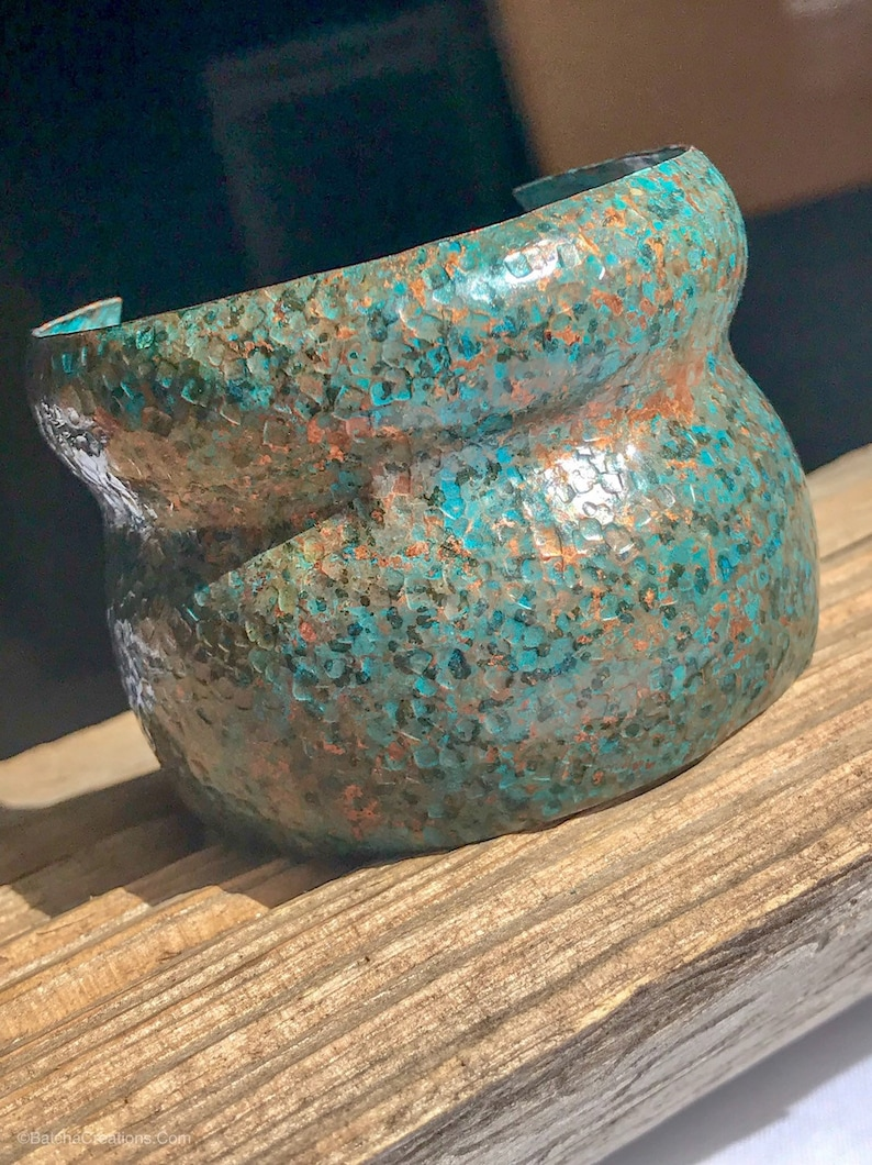 Double Dome Textured and Patinaed Copper Adjustable Cuff