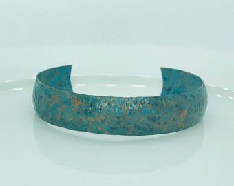 Green Blue Panina Textured Copper cuff adjustable bracelet
