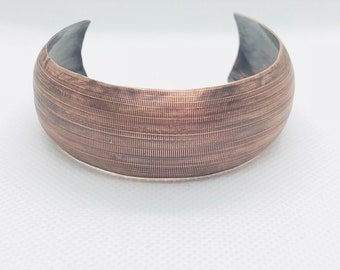 Domed textured copper cuff